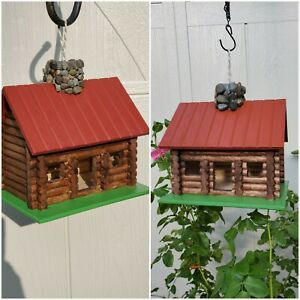 TWO Birdhouse Log cabin hand painted, Stained & outdoor Treated walnut stain