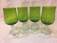 4 Crystal Stemmed Green Wine/Water Glasses
