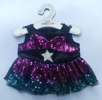Build-A-Bear Honey Girls Sequin Ombre Star Dress Stuffed Animal Bear Dress, NEW