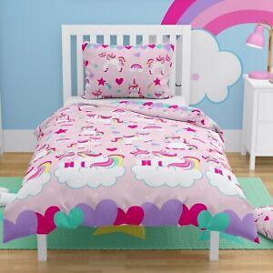 Pink Unicorns Girls Toddler Duvet Bedding Set Cot Bed Cover 150x120 cm COTTON