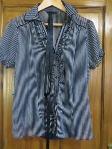 LADIES BHS 2 PART SHIRT NAVY WHITE STRIPES SIZE 16 -  HOUSE CLEARANCE