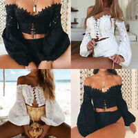 Sexy Women Off Shoulder Long Sleeve Lace Up Crop Tops Hollow Slim T-Shirt Blouse