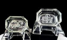 "HEINRICH HOFFMAN INTAGLIO CUT GLASS DANCER & FRUIT MOTIF 2 PC 2 3/4"" SALT DIPS"