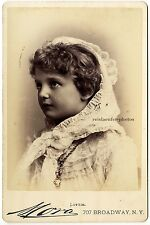 C. 1885, Mora, N.Y., portrait of Lottie, stage star? Original cabinet photograph