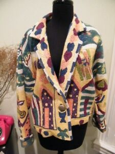 PAINTED PONY COLORFUL COTTON  TAPESTRY JACKET SIZE MED