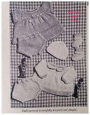 "Boy & Girl 14"" Doll's Clothes Vintage Knitting PATTERN Dress Smock Undies Hat DD"