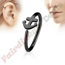 316L Surgical Steel Black Ion Plated Nose & Ear Cartilage Ring with Anchor