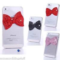 NEW 3D BOW BLING DELUX RED PINK DIAMANTE SPARKLE CASE COVER FOR HTC ONE M8 Mini