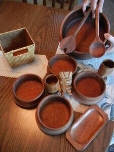Teakwood Imperial 4 Salad Set lg bowl, bowls,mix spoons,winegls,btrdish,FREE hdr