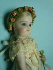 CATHY HANSEN 5'' ALL BISQUE FRENCH MIGNONETTE DOLL, GLASS EYES MOHAIR WIG