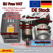 DE 1,5kw ER16 Wassergekühlter Spindelmotor Water Cooled CNC Spindle&VFD VSD&Pump