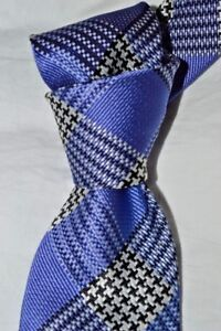 """$250 NWT TOM FORD Purple white black houndstooth check 3.4"""" woven silk tie Italy"""