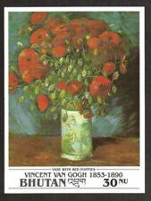 Bhutan Stamp - Van Gogh painting, Vase with Red Poppies Stamp - NH