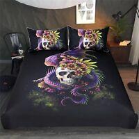 3D Skull Flower 578 Bed Pillowcases Quilt Duvet Cover Set Single Queen King AU