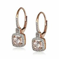 Natural Morganite & Created White Sapphire Drop Earrings in 10K Rose Gold