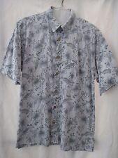 Reel Legends Men's Blue Cotton Short Sleeve Button Fish Pattern Shirt - Size L