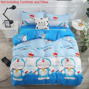 Blue Doraemon Cartoon Comforter Cover Bed Sheet Pillow Case Bedding Set All Size