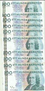 SWEDEN LOT 10x 100 KRONOR  P 65. VF CONDITION. BARGAIN. 9RW 11GEN