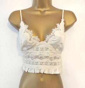 New Zara Ecru Cream Embroidered Lace Trim Crop Top Size M Fit Size 8 10