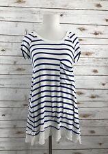 BORDEAUX Blue White Stripe Satin Sheer Cross Back Soft Top Size XS