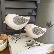 Set of 2 Rustic White Bird Ornaments/Wooden Painted Birds Figurines/Animal Birds