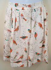 SEE BY CHLOE Women's Cream & Multi Colour Silk Bird Print Shorts Sz:44 UK12 BNWT