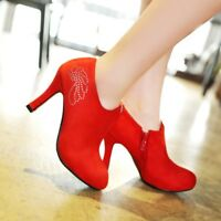 Fashion Women Suede High Heels Rhinestone Chunky Round Toe Ankle Boots Shoes Zip