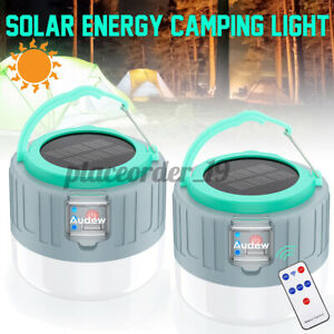 2x USB Rechargeable Remote Control Lantern Solar LED Bulb Camping Tent Lights
