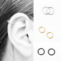 US 2PCS Stainless Steel Piercing Hoop Earring Helix Nose Ear Cartilage Ring Gift