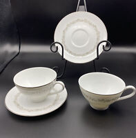 Kenmark Fine China Cups & Saucers Meadowbrook #6893 White Set Of 2 White Silver
