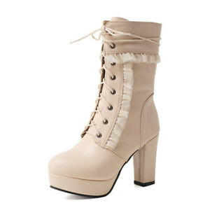 Womens Winter Combat BootsLeather Lace-Up Zip Chunky Heel Round Toe Ankle Bootie