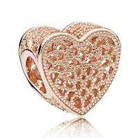 Rose Gold Love Heart Charm 100% 925 Sterling Silver Pandora