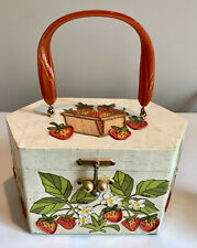 Vtg Strawberry Wood Box Purse Hand Painted & Decoupage by Gollywog of Florida.
