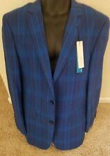 Perry Ellis Mens Sport Coat Blazer Jacket 42R Regular slim blue tartan plaid NWT