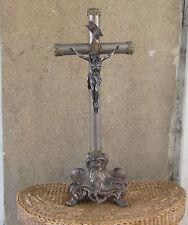 Antique Large 45cm Spelter Bronze Chrome Altar Cross Crusifix Jesus Christ 19c.