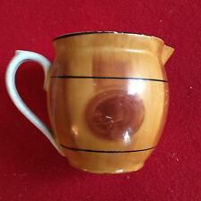 Art Deco Porcelain Cream Pitcher Faux Bois Wood Jug Creamer Czechoslovakia 1930