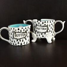 Anthropologie Artist Molly Hatch Sugar&Creamer Tea Sketched Story Hand Painted
