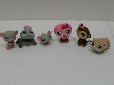 Littlest Pet Shop LPS LOT OF 6 LPS Animals Spider Mice Hamster Owl Monkey
