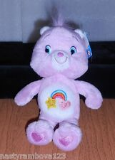 "CARE BEAR ""BEST FRIEND BEAR"" 8"" PINK PLUSH, RAINBOW BELLY BADGE, 2008, NWT'S!"