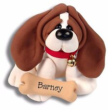 BASSETT HOUND PUPPY DOG Handmade Polymer Clay Personalized Ornament by Deb & Co.