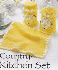Crochet Pattern ~ COUNTRY KITCHEN SET Dishcloth, Storage Jar  ~ Instructions
