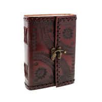 Indra Fair Trade Handmade Medium Embossed Stitched Leather Journal With Clasp