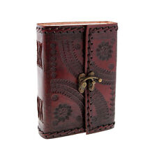 Indra Fair Trade Medium Embossed Stitched Leather Journal With Clasp 2nd Quality