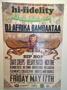 AFRIKA BAMBAATAA 2013 Australian Tour Poster *BRISBANE ONLY* Planet Rock ***RARE