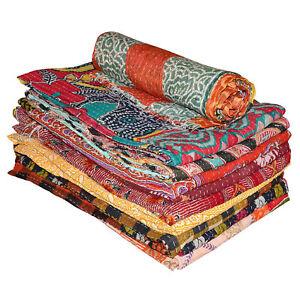 Wholesale Vintage Reversible Kantha Quilt Gudari Throw Blanket Coverlets 5 PC