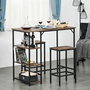 Industrial Bar Height Dining Table Set 2 Stools Side Shelf Kitchen Bistro Party