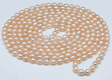 Natural pink 8-9mm Rice freshwater Cultured Pearl Necklace 50""