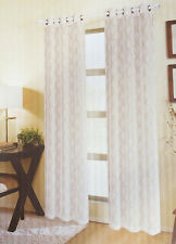 Two Taupe & Ivory Sheer Window Curtain Panels: Moroccan Design, Grommets, 76x84