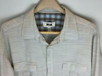 Joseph Abboud Mens Long Sleeve Convertible Shirt Size 2XLT Brown White Blue