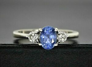 Levian 14K Solid White Gold Oval Tanzanite Round Diamond Cocktail Ring Size 7